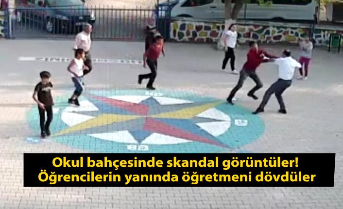 Okul bahçesinde skandal görüntüler! Öğrencilerin yanında öğretmeni dövdüler