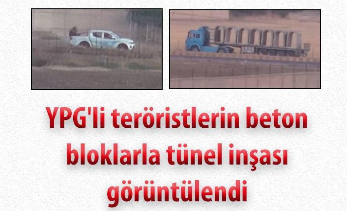 YPG'li teröristlerin beton bloklarla tünel inşası görüntülendi