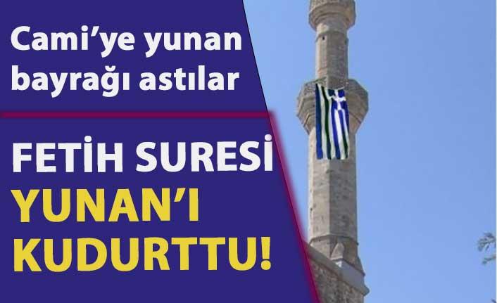 Ecdat yadigarı 597 yıllık Çelebi Sultan Mehmet Camii'ne Yunan bayrağı astılar