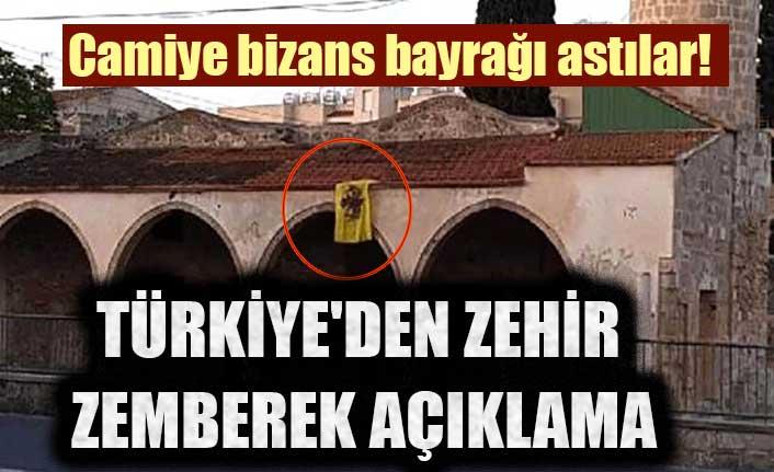 Camiye bizans bayrağı astılar! Türkiye'den zehir zemberek açıklama