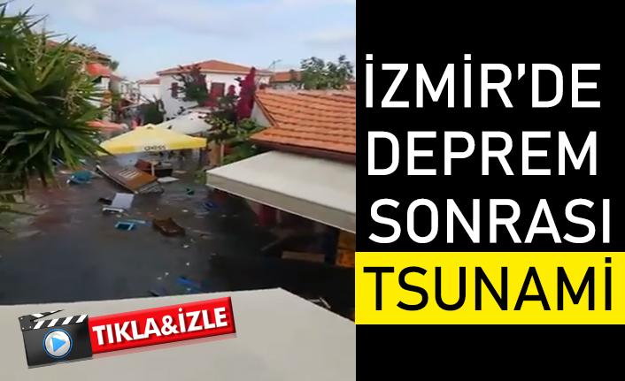 İzmir'de 6,6 büyüklüğünde deprem sonrası tsunami görüntüleri!
