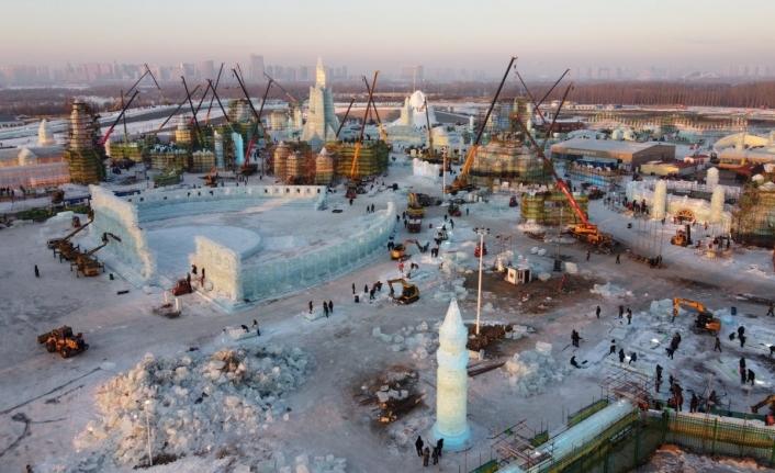 Çin'de kış festivali hazırlığı