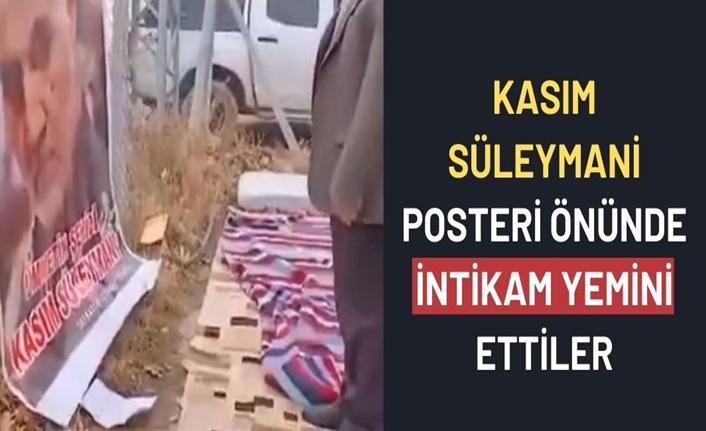 Kahramanmaraş'ta dernek üyeleri Kasım Süleymani posteri önünde intikam yemini etti
