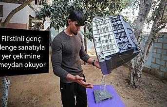 Filistinli genç denge sanatıyla yer çekimine meydan okuyor