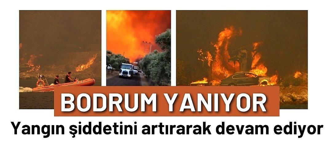 Bodrum Çökertme koyunda yangın şiddetini artırarak devam ediyor