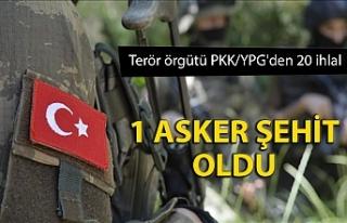 Terör örgütü PKK/YPG'den 20 ihlal: 1 asker...