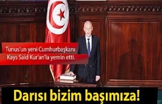 Tunus'un yeni Cumhurbaşkanı Kays Said Kur'an'la...