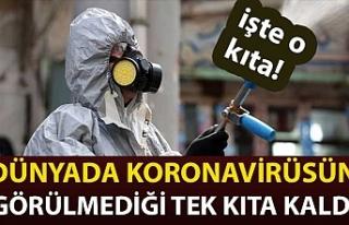 Dünyada koronavirüsün görülmediği tek kıta...