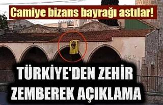 Camiye bizans bayrağı astılar! Türkiye'den...