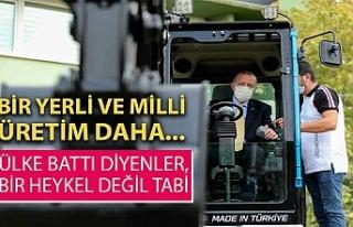 Cumhurbaşkanı Erdoğan, milli iş makinasını test...