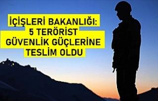 İçişleri Bakanlığı: 5 terörist güvenlik güçlerine...