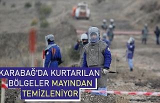 Karabağ'da kurtarılan bölgeler mayından temizleniyor