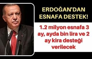 Erdoğan: 1.2 milyon esnafa 3 ay, ayda bin lira ve...