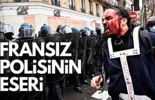Fransız polisinin göstericilere sert müdahalesi