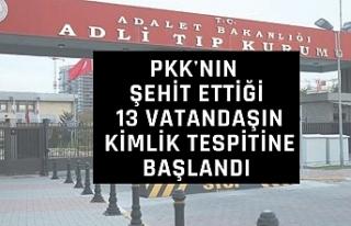 PKK'nın şehit ettiği 13 vatandaşın kimlik...