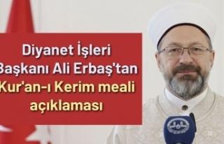 Diyanet İşleri Başkanı Ali Erbaş'tan Kur'an-ı...