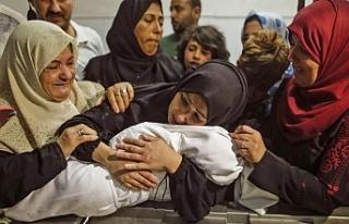 İşgalci İsrail'in Gazze'ye saldırılarında...