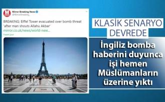 İngiliz medyası Eyfel Kulesi'ndeki bomba tehdidini Müslümanların üzerine yıkmaya çalıştı