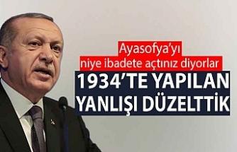 Erdoğan, Ayasofya eleştirilerine yanıt verdi