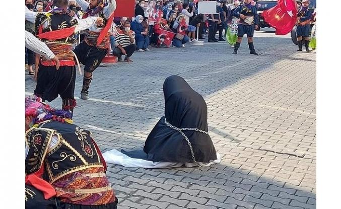 Çarşaflı kadının zincire bağlanması skandalında pişkin savunma!